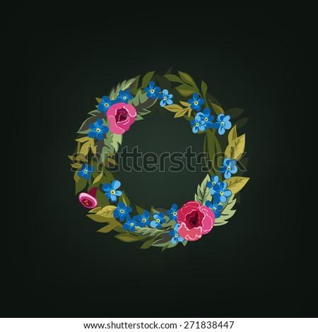 O letter. Flower  alphabet. Colorful font. Lowercase.  Vector illustration. - stock vector