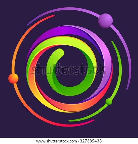 O letter logo with atoms orbits. Vector design template elements for your application or corporate identity. - stock vector