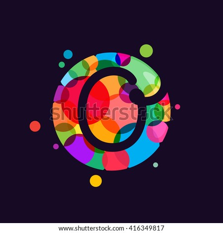 O letter logo with mosaic pattern. Abstract multicolored vector design template elements for your application or corporate identity. - stock vector