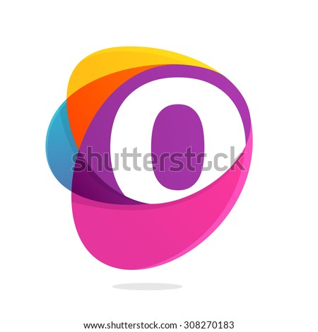 O letter with ellipses intersection logo. Abstract trendy multicolored vector design template elements for your application or corporate identity. - stock vector