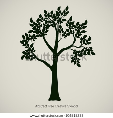 Oak Tree Silhouette. Vector Element Design - stock vector