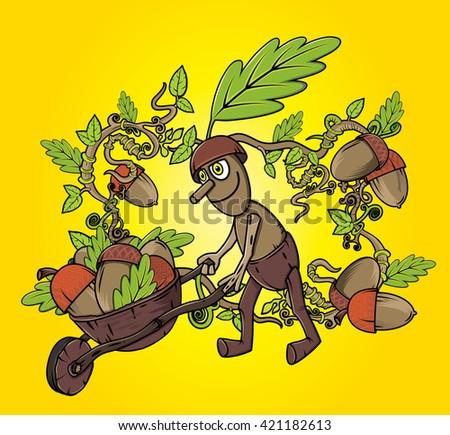oak tree sprite harvesting accorns autumn season design  - stock vector