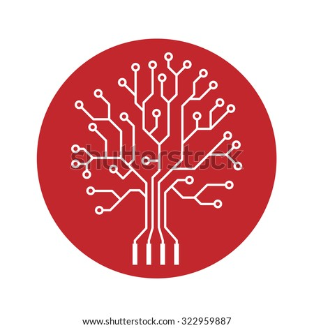 Oak tree stylized as an electronic circuit on red circle - stock vector
