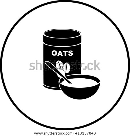 oatmeal bowl and bottle symbol - stock vector