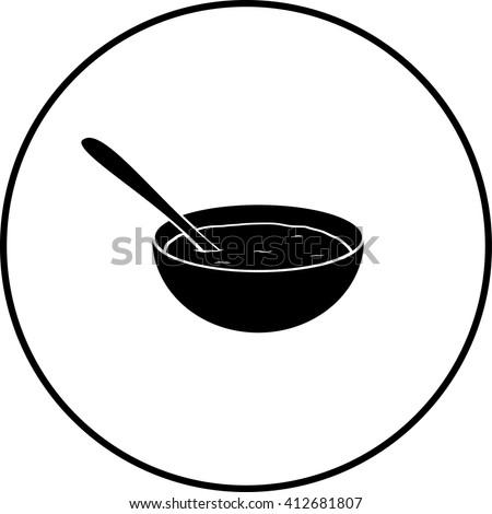 oatmeal bowl symbol - stock vector