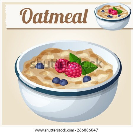 Oatmeal. Cartoon Vector Icon. Series of food and drink and ingredients for cooking. - stock vector