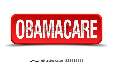 Obamacare red 3d square button isolated on white - stock vector