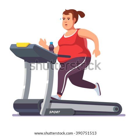 Obese young woman running on treadmill. Girl working out in sweat to get rid of fat belly. Flat style modern vector illustration. - stock vector