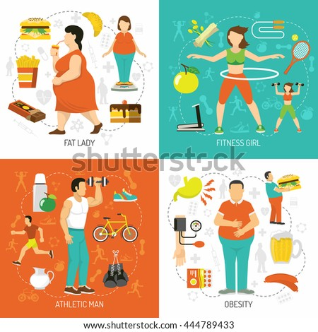 Obesity and health concept with fat people junk food diet sportive girl athletic man isolated vector illustration  - stock vector