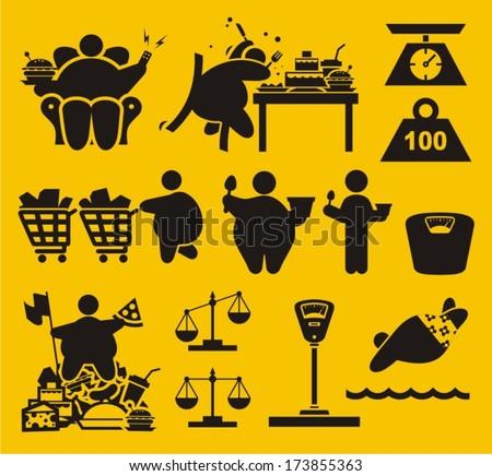 Obesity Symbols - stock vector