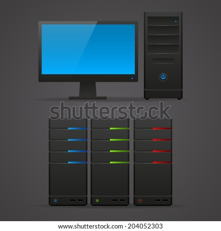 Object computer monitor server - stock vector
