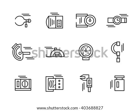 Objects and tools for measurement a variety of physical and mechanical quantities. Metrology and engineering.  Collection of black simple line style vector icons. Elements for web design and mobile. - stock vector