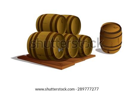 objects. barrels. vector - stock vector