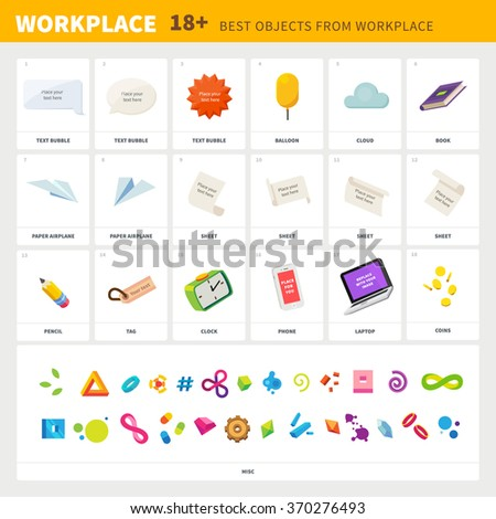 Objects for your  workplace: different text bubbles, balloon, cloud, book, paper plane, white sheet of paper, pencil, tag, clock, phone, notebook, coins, abstract symbols. Flat illustration set. - stock vector