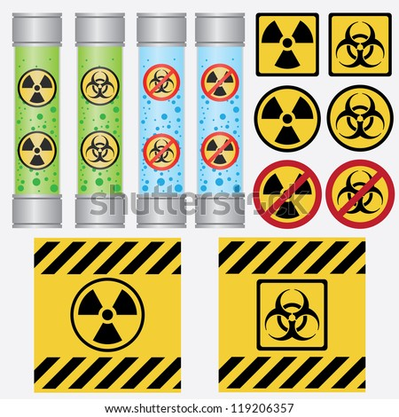 Objects with radioactive and biohazard labels on the white background. - stock vector