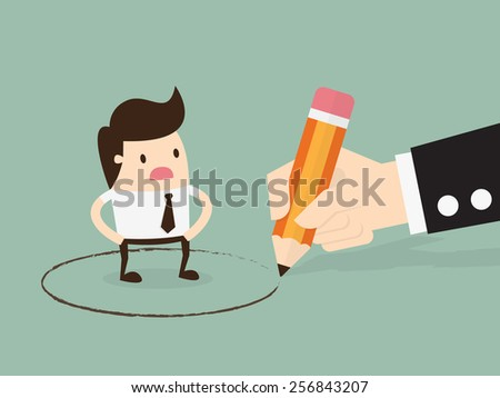 Obligation, Big hand draw a circle around young businessman. Business concept illustration. - stock vector