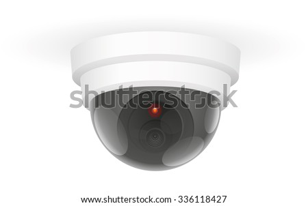 Observation Camera Ceiling Observing ceiling camera - isolated vector illustration over white background. - stock vector