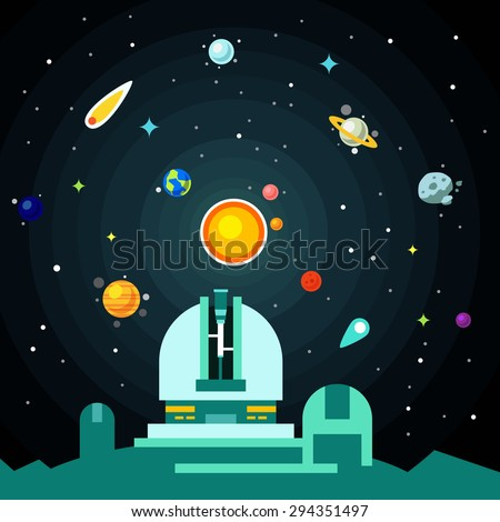 Observatory station, solar system with planets, comets and asteroids on the night star sky. Flat style vector background illustration. - stock vector