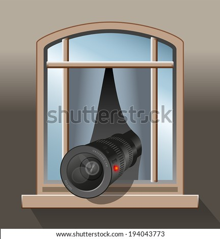 Observer - Somebody is secretly observing with a camera out of a window. - stock vector
