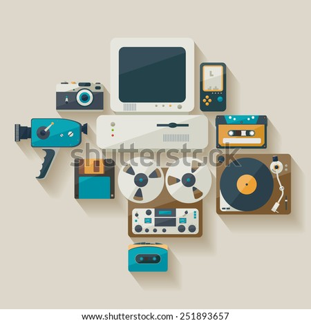 Obsolete technology. Flat design. - stock vector