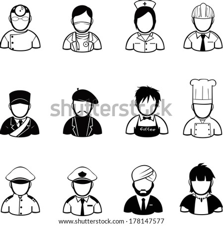 occupation icons and people Icons created in vector format - stock vector