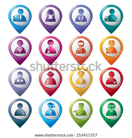 Occupation Pointer Icons - stock vector