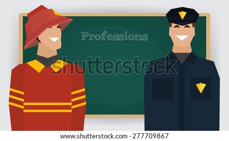 Occupation set, firefighter and policeman profession. Man in fire dept uniform standing at chalk board. Vector illustration - stock vector