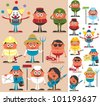 Occupations 2: Set of cartoon characters of different occupations. No transparency and gradients used. - stock vector