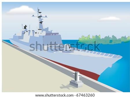 Ocean and Warship - stock vector