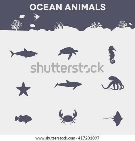 ocean animals. animal icon - stock vector
