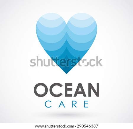 Ocean care love heart sea water logo element vector design symbol shape icon template abstract business company - stock vector
