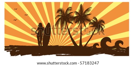 ocean coast and girl with a surf - stock vector