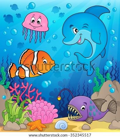 Ocean fauna topic image 1 - eps10 vector illustration. - stock vector