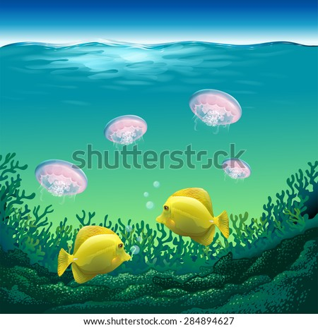 Ocean fish and jelly fish under the water - stock vector