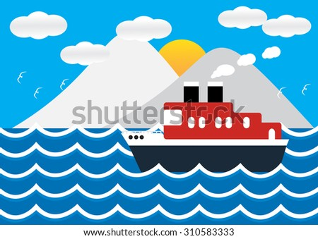 Ocean liner boat ship at sea view in sunset with iceberg and wave. flat design vector illustration. - stock vector