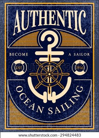 ocean sailing vintage label - stock vector