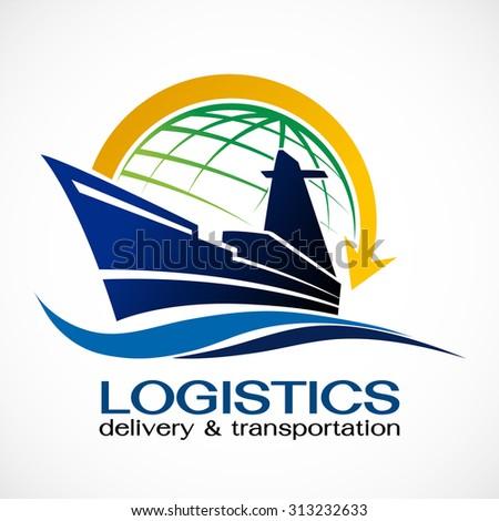 Ocean Ship and globe logo design,Vector logo template  - stock vector