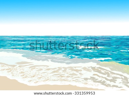Ocean shore, beach, vector illustration - stock vector