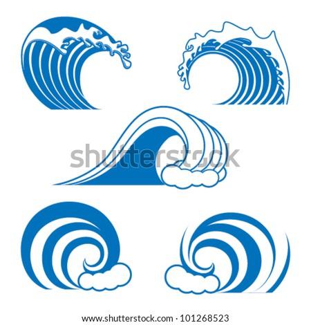 ocean wave contour set - stock vector