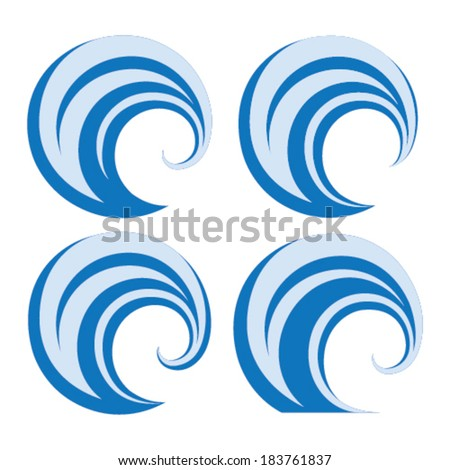 Ocean wave icon set on white background - stock vector