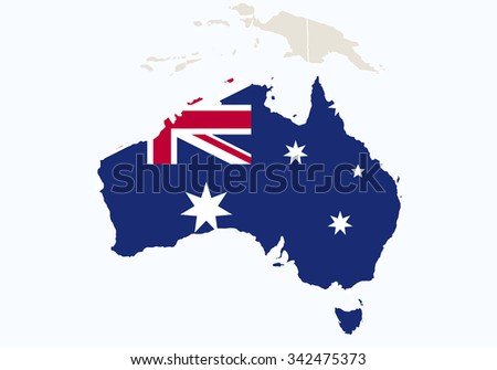 Oceania with highlighted Australia map. Vector Illustration.  - stock vector