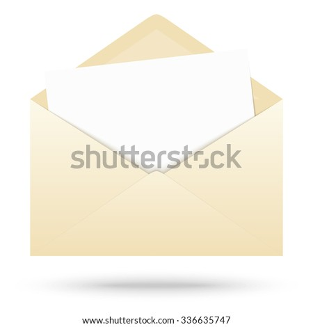 ocher colored envelope with empty paper - stock vector