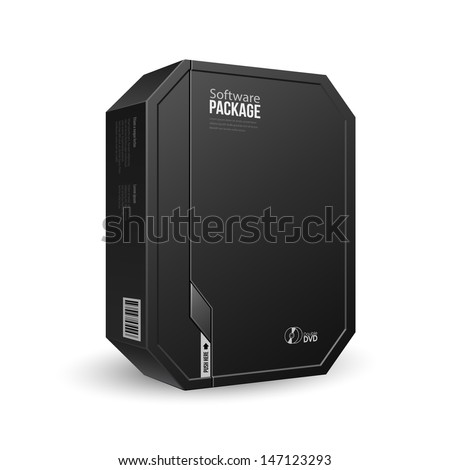 Octagon Modern Black Software Package Box With DVD Or CD Disk For Your Product. Vector EPS10  - stock vector
