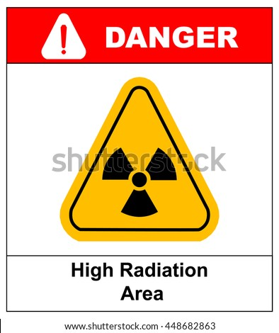 Octagon yellow and black caution with radiation hazard text and sign isolated on white background.-jpg format - stock vector