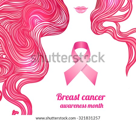 October: Breast Cancer Awareness Month, annual campaign to increase awareness of the disease. Woman with breast cancer awareness pink ribbon, vector illustration health, medicine, beauty concept  - stock vector