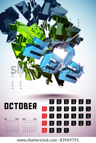 October - Calendar Design 2012 - stock vector