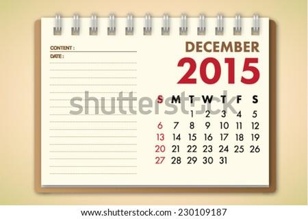 October 2015 Calendar Notebook Paper Vector  - stock vector