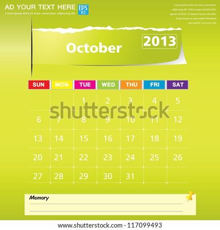 October 2013 calendar vector illustration - stock vector