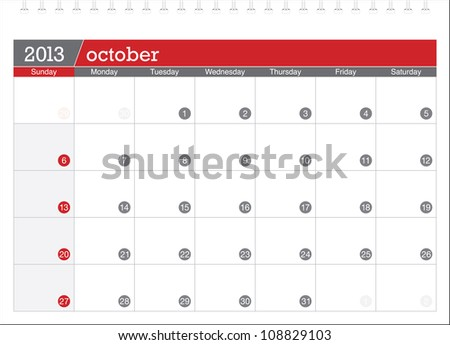 october 2013-planning calendar - stock vector