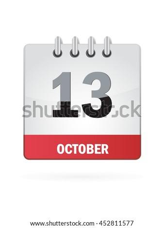 October Thirteen. Calendar Icon - stock vector